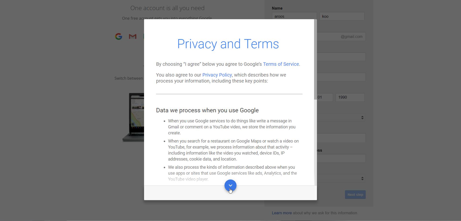 قوانین گوگل را مطالعه کنید و بعد تائید نمائید
