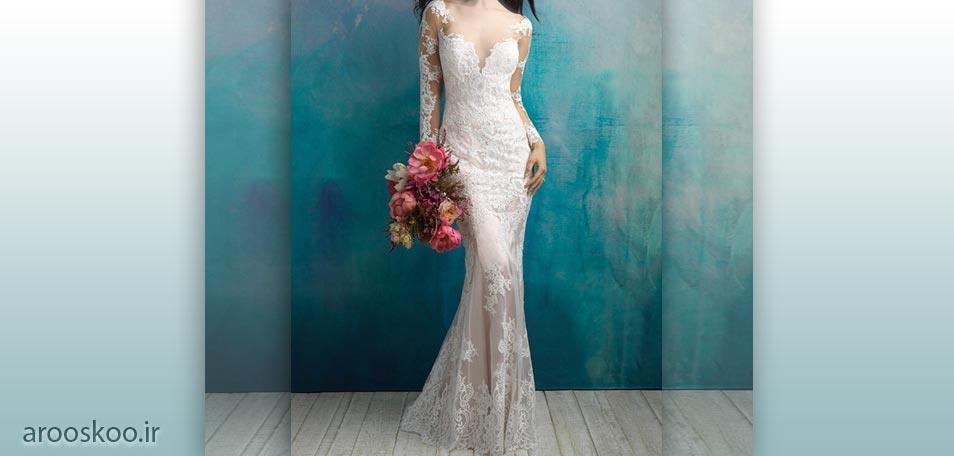 لباس عروس بی نظیر بالا تنه گیپور و آستین بلند