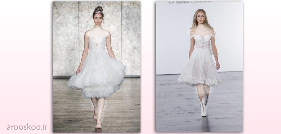 مدل های مختلف لباس عروس پفی با دامن کوتاه